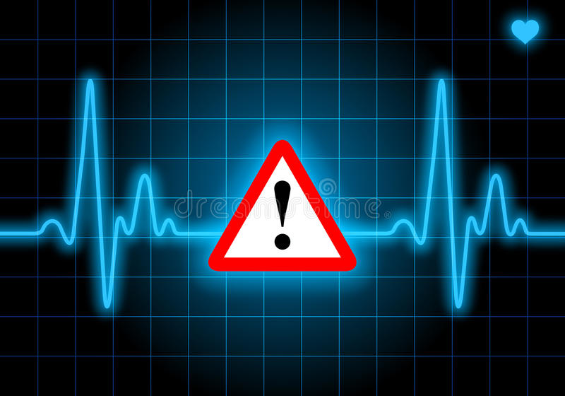 Danger sign on blue heart rate monitor. Expressing warning on heart condition - health hazard stock illustration