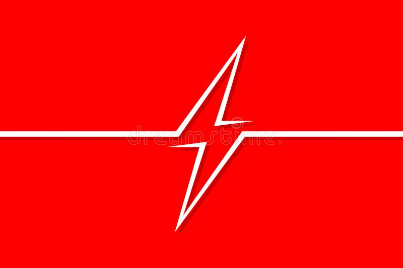 Danger sign electricity on a red background in the style of line art. Vector illustration royalty free illustration