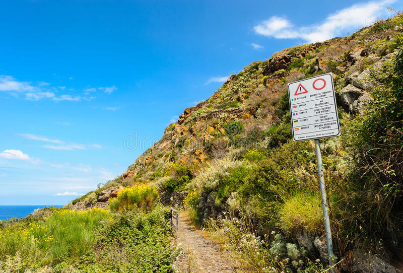 Danger sign on Filicudi path stock images