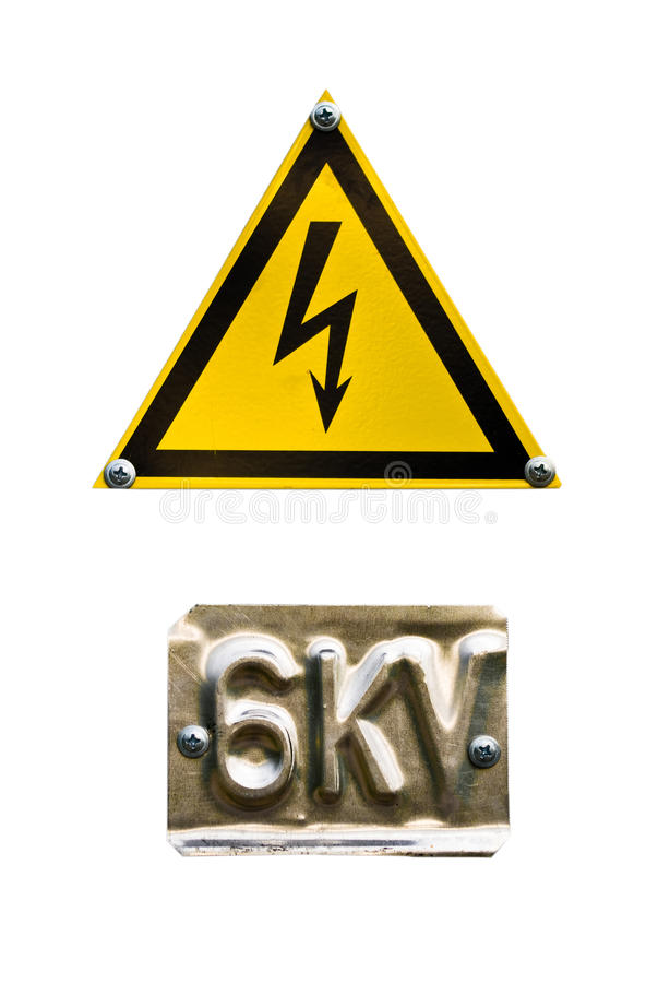 Danger sign high voltage on white. Warning with yellow electricity and six kilowatt sign - isolated on white background stock photography