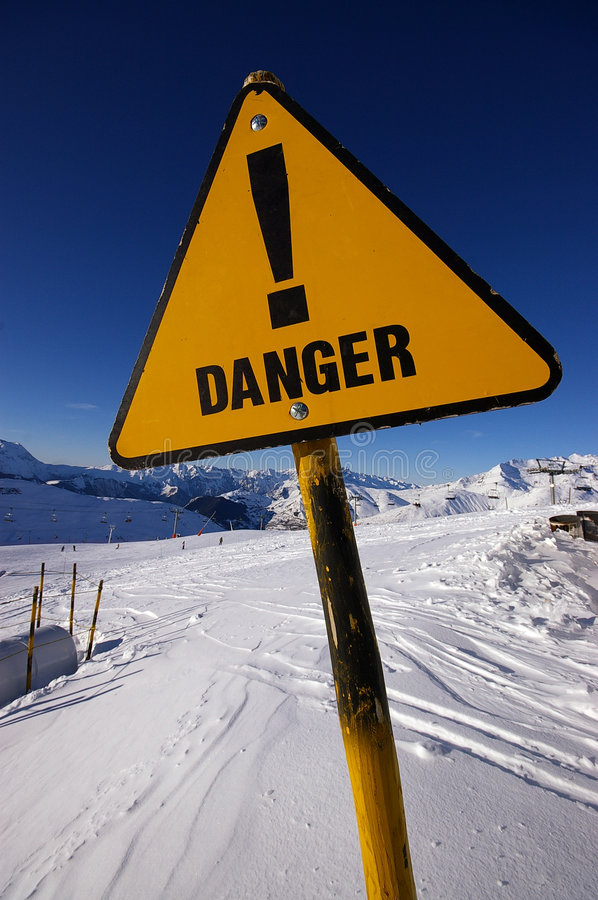Free Danger Sign In Alps Avalanche Area Royalty Free Stock Photo - 6250165
