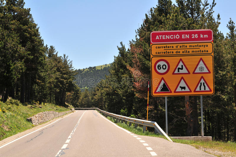 Danger Sign By Road Stock Image
