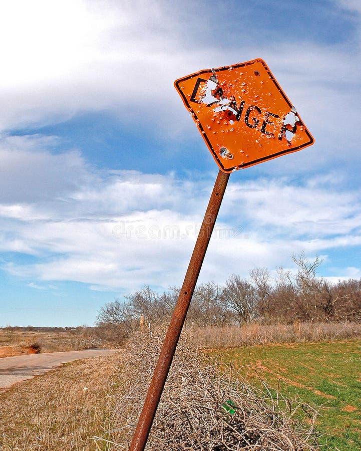 Danger sign shot up stock photo