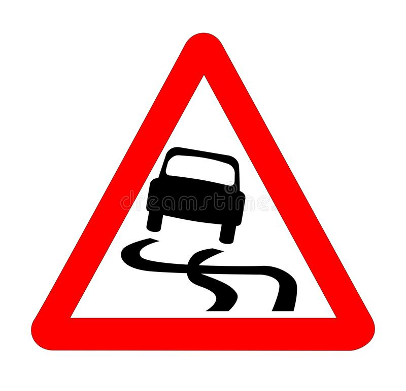 Danger SkiddingTraffic Sign Isolated. The traditional `SKIDDING` triangle, traffic sign isolated on a white background royalty free illustration