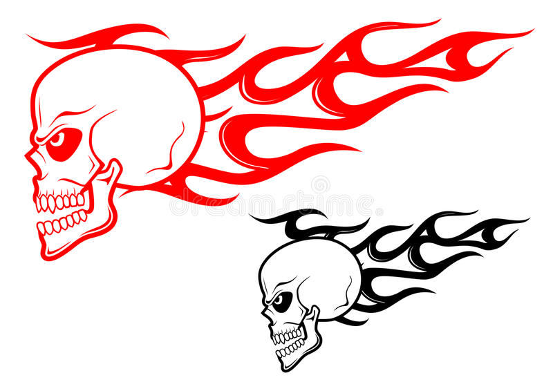Danger skull with flames stock image