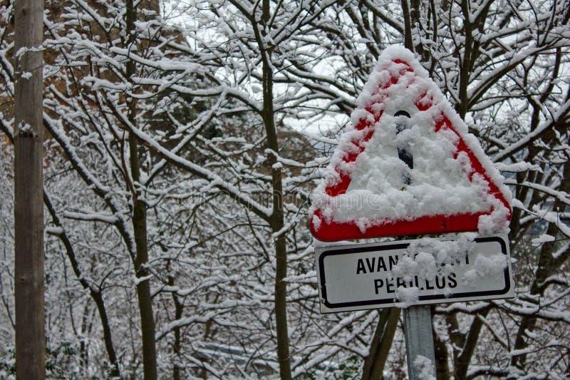 Danger sous la neige image libre de droits