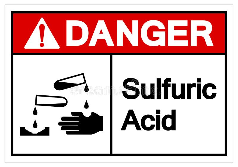 Danger Sulfuric Acid Symbol Sign, Vector Illustration, Isolate On White Background Label .EPS10 royalty free illustration