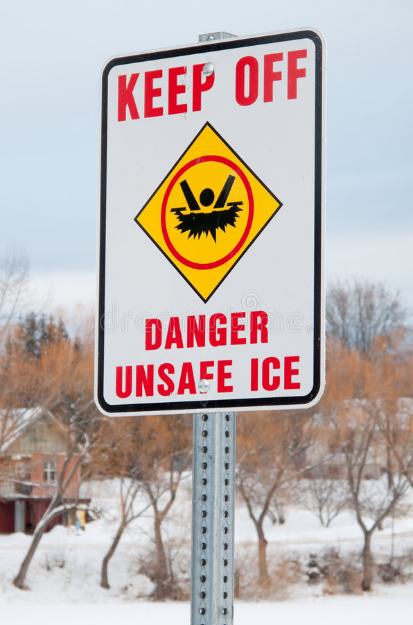 Danger thin ice stock photo