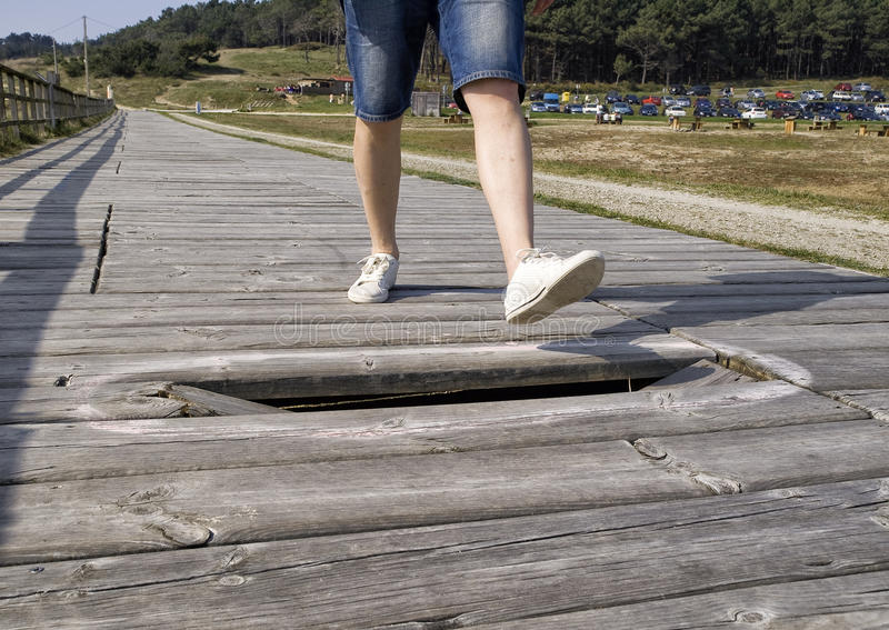 Download Danger To Tread Because Of A Broken Board Stock Photo - Image: 25449816