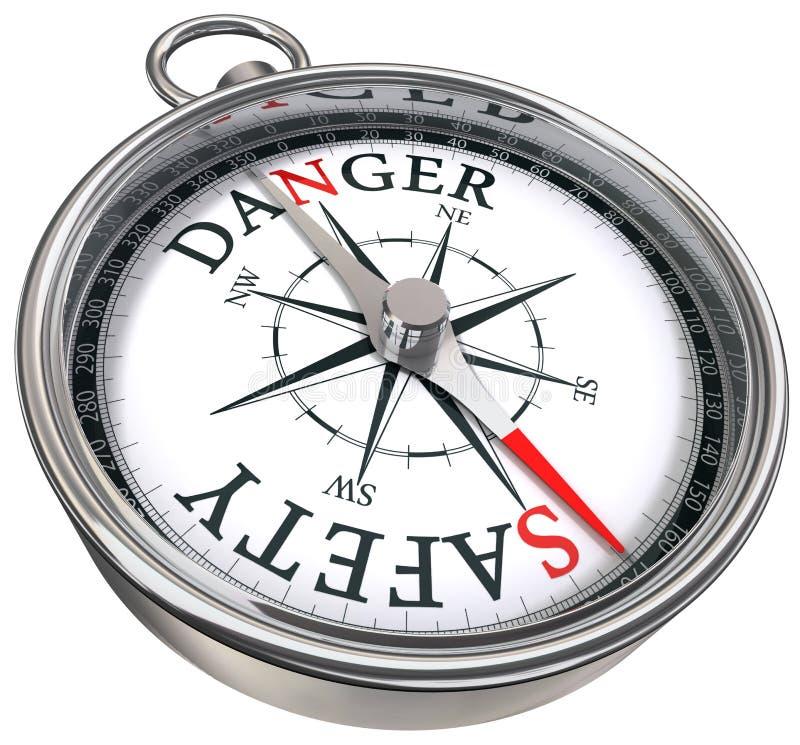 Danger vs safety conceptual compass vector illustration