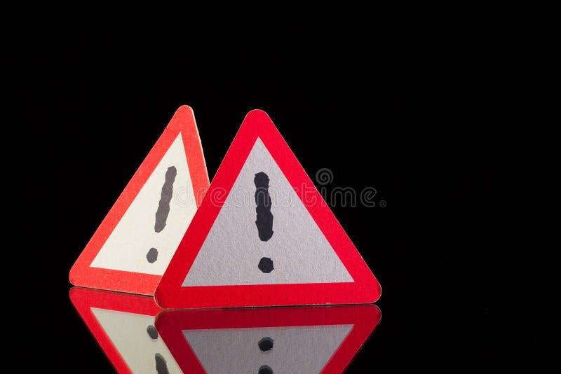 Danger warning signs stock image