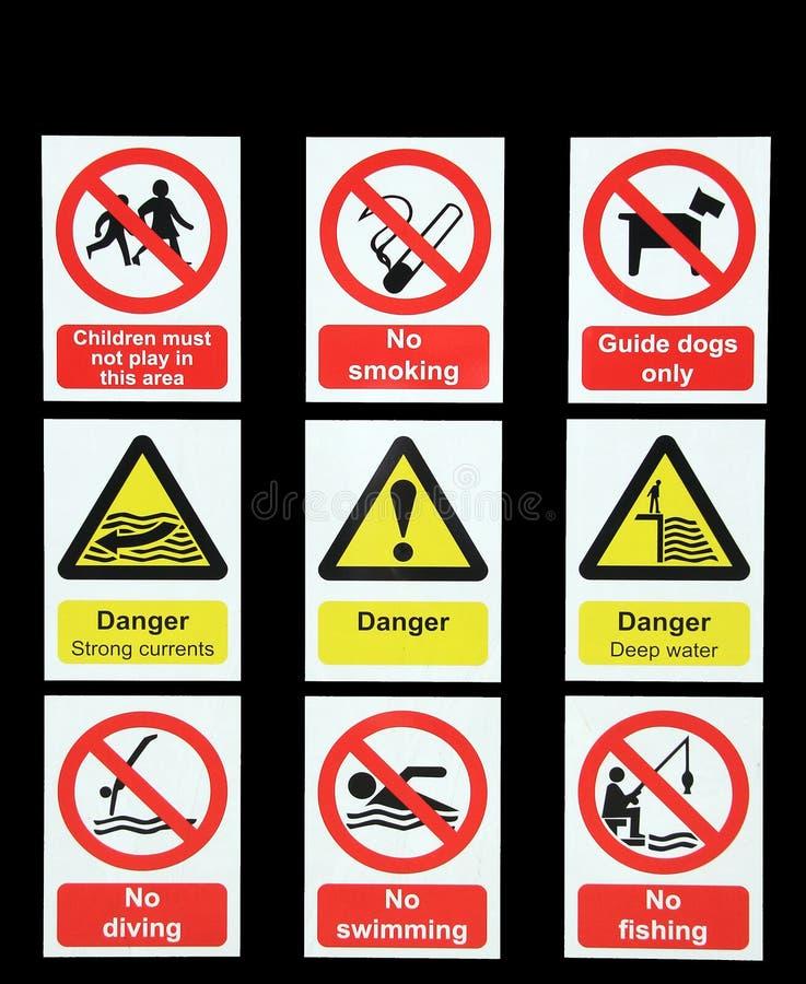 Danger warning signs royalty free illustration