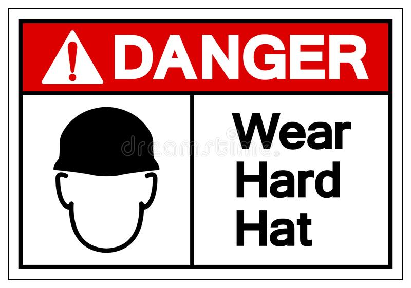 Danger Wear Hard Hat Symbol Sign, Vector Illustration, Isolate On White Background Label. EPS10 stock illustration
