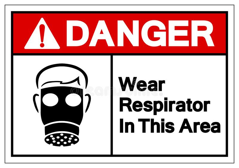 Danger Wear Respirator In This Area Symbol Sign, Vector Illustration, Isolate On White Background Label. EPS10 stock illustration