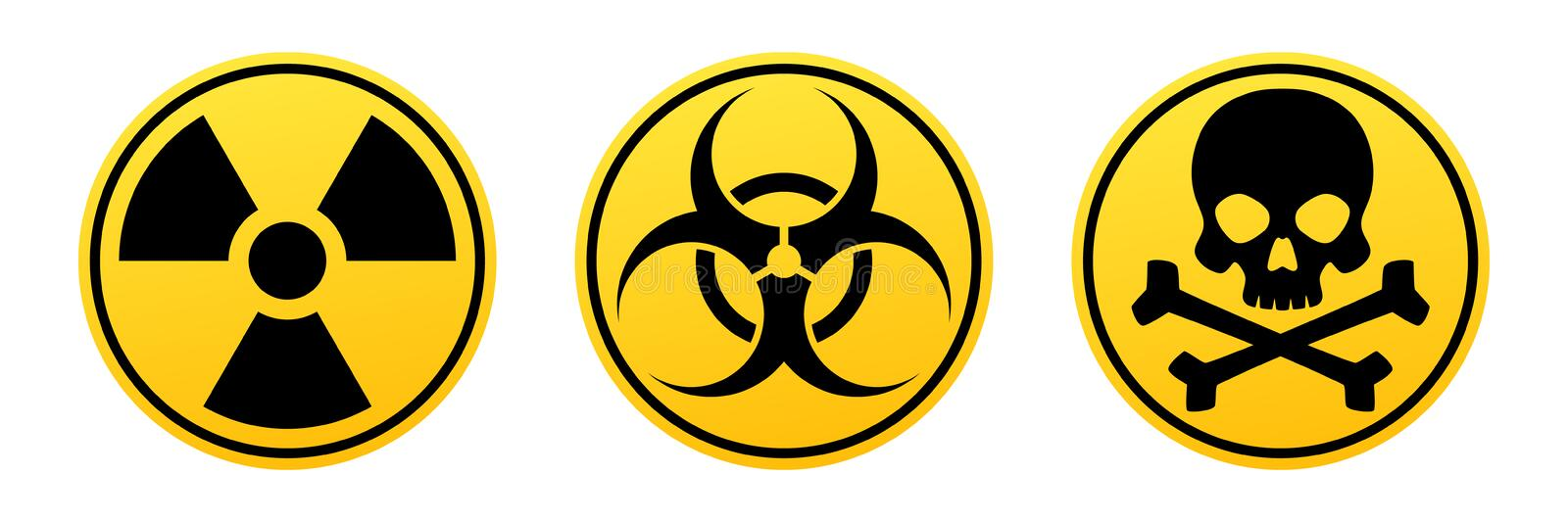 Danger yellow vector signs. Radiation sign, Biohazard sign, Toxic sign. royalty free illustration