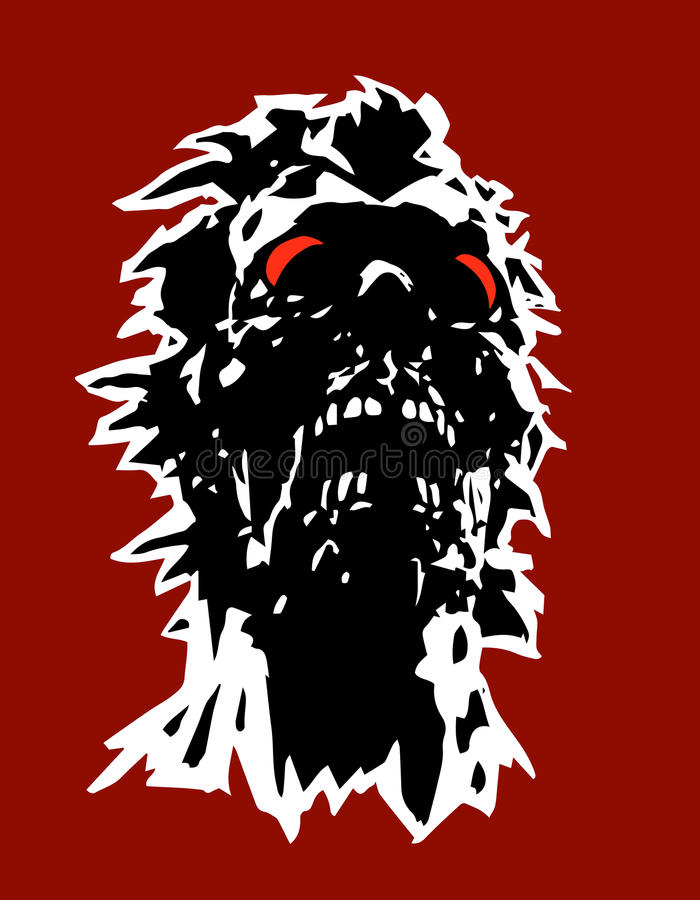 Danger zombie head concept with a torn face. Vector illustration. Terrible character face for halloween. The horror genre vector illustration