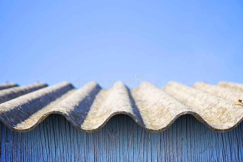 Dangerous asbestos roof - one of the most dangerous materials in. Buildings stock images