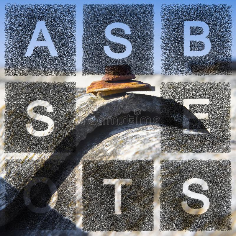 Dangerous asbestos roof. The word asbestos written with letters whose graphic resembles the shape of the asbestos particles.  royalty free stock photo