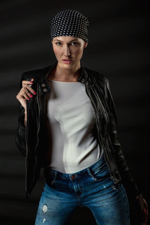 Dangerous beauty woman royalty free stock photo