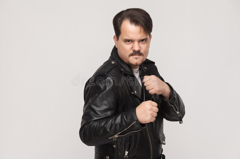 Dangerous boxer. Looking at camera with anger face. stock photo
