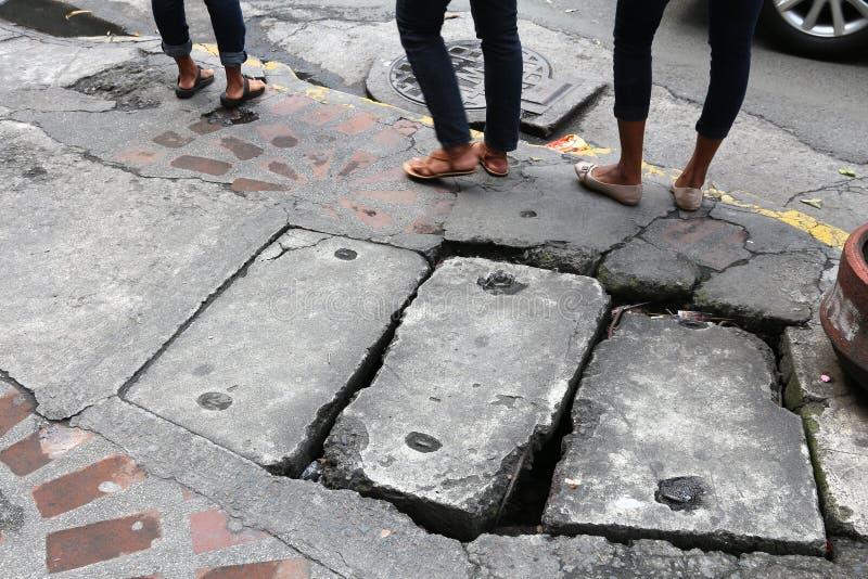 Dangerous city sidewalk royalty free stock images