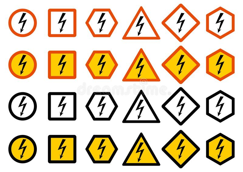 Industry concept. Set of different warning signs: chemical, radioactive, dangerous, toxic, poisonous hazard. Danger sign vector illustration
