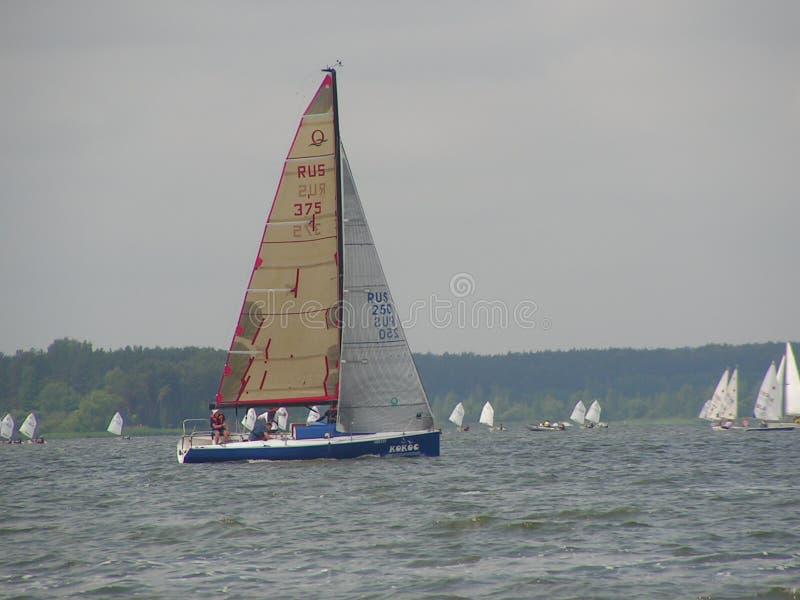 Dangerous convergence of yachts. Photo 14 of 14. The Minsk Sea Zaslavskoe reservoir Republic of Belarus. royalty free stock photo