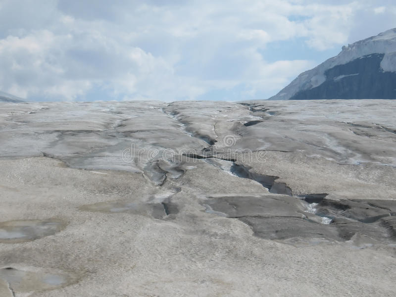 Dangerous Crevices On Glacier At Banff National Park. Royalty Free Stock Images