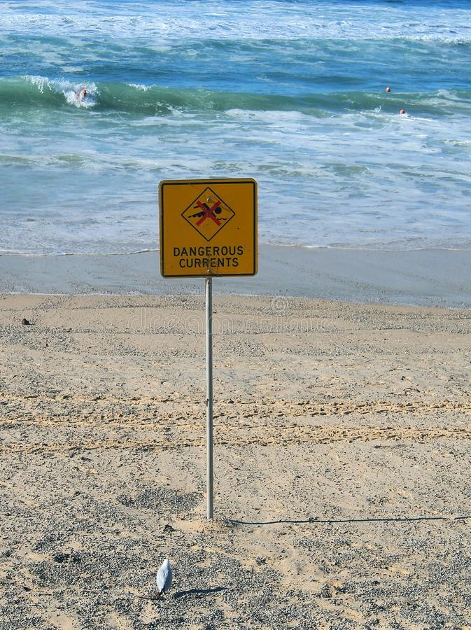 Dangerous Currents Warning Sign. Sign warning about dangerous currents on surf beach during heavy seas stock image