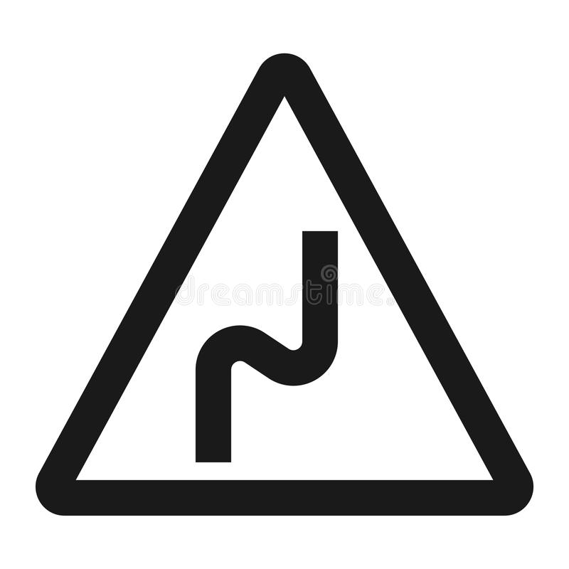 Dangerous double bend sign line icon. Traffic and road sign, vector graphics, a solid pattern on a white background, eps 10 vector illustration