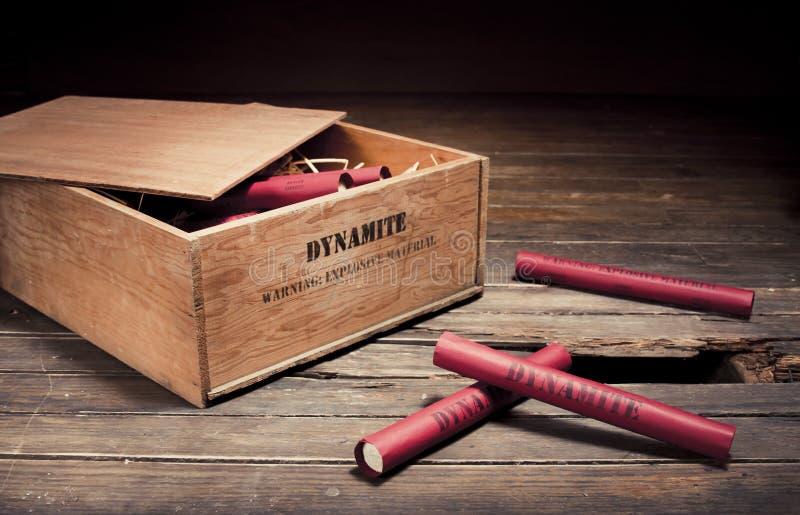Dangerous Dynamite Sticks On Wooden A Box Stock Image