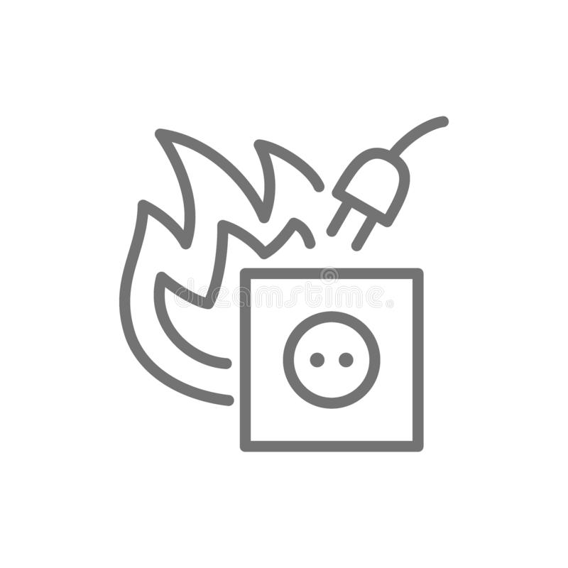 Dangerous electrical outlet, short circuit line icon. stock illustration
