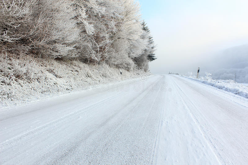 Dangerous frozen road royalty free stock photos