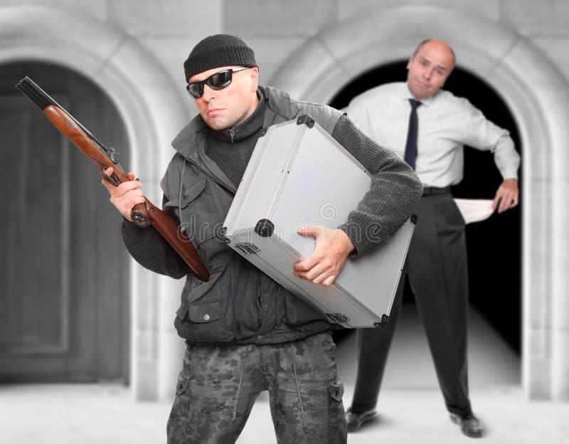 Dangerous gangster with shotgun. stock photos