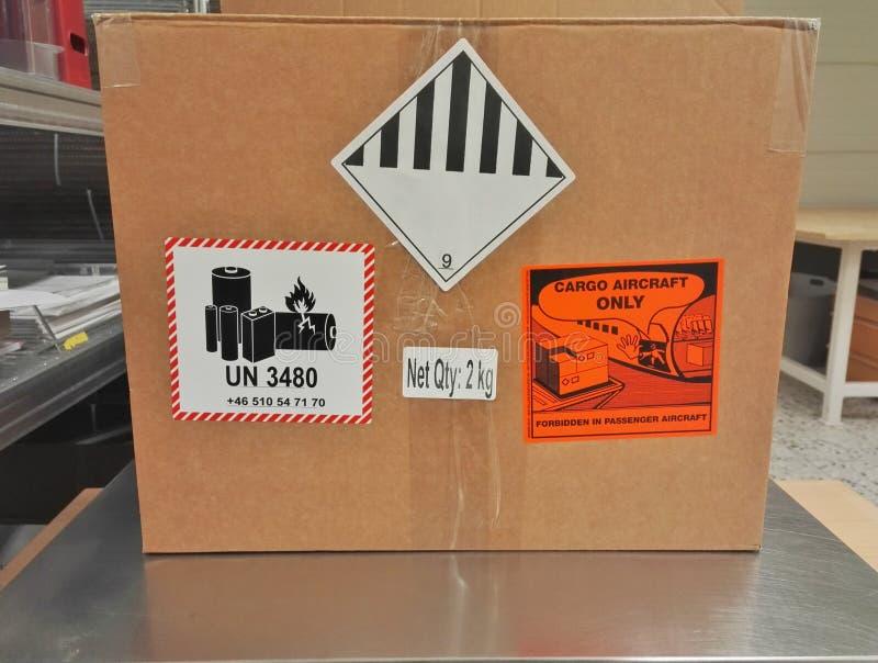 Dangerous goods. Send Lithium batteries as dangerous goods stock images