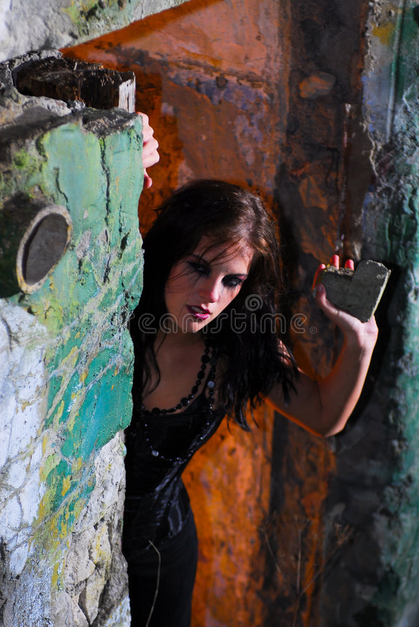 Download Dangerous Goth Girl stock image. Image of black, beauty - 6355049