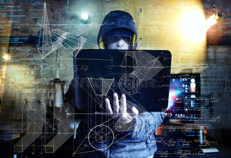 Dangerous hacker stealing data -industrial espionage concept royalty free stock images