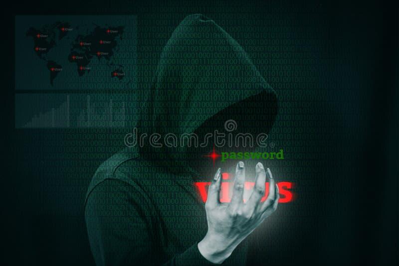Dangerous hacker stealing data over screen with binary code. Dangerous hacker stealing data over a screen with binary code royalty free stock photo