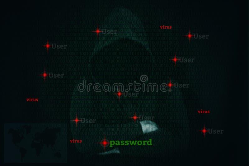 Dangerous hacker stealing data over screen with binary code. Dangerous hacker stealing data over a screen with binary code stock photo