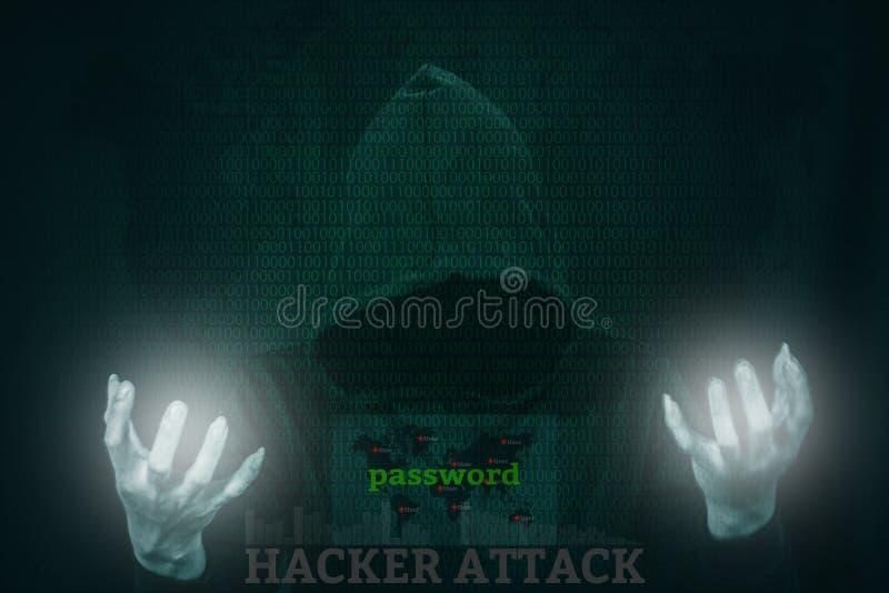 Dangerous hacker stealing data over screen with binary code. Dangerous hacker stealing data over a screen with binary code stock photography