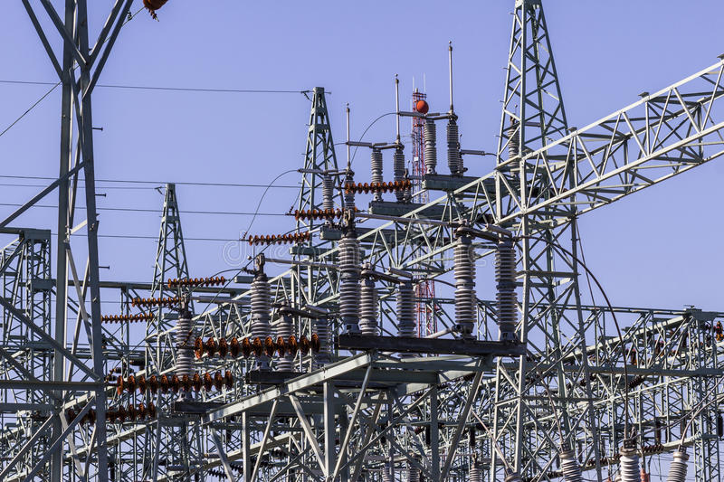 Dangerous High Voltage Electrical Power Substation II royalty free stock photography