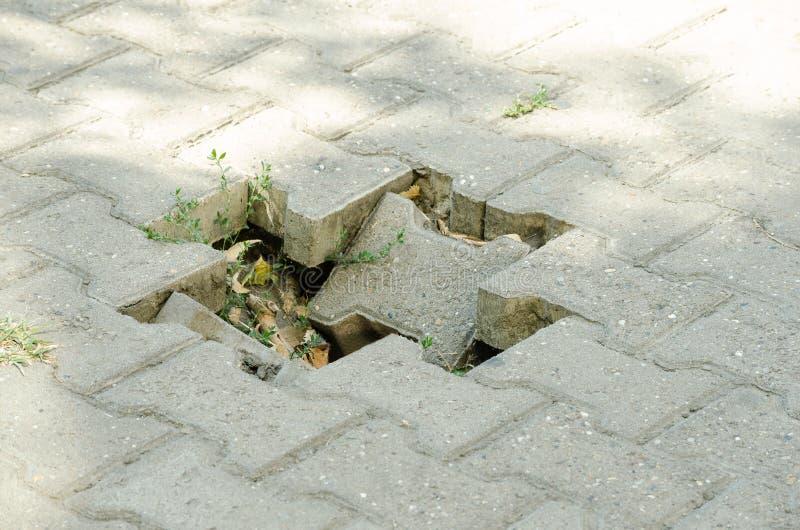 Dangerous hole for pedestrians on damaged sidewalk stock photography