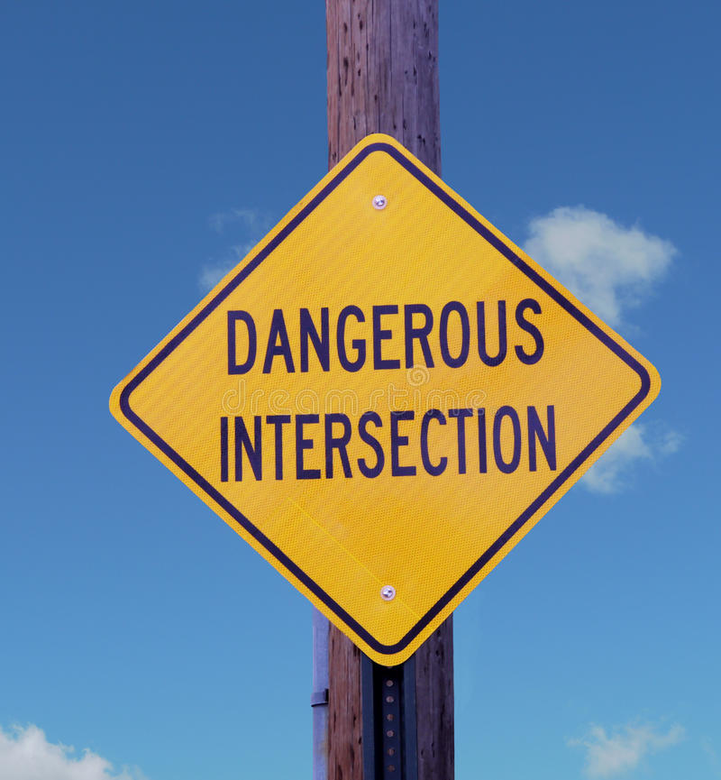 Download Dangerous Intersection Sign. Stock Photo - Image: 18416850