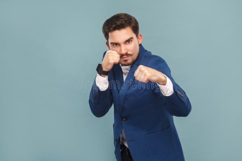 Dangerous man boxing at camera royalty free stock photos