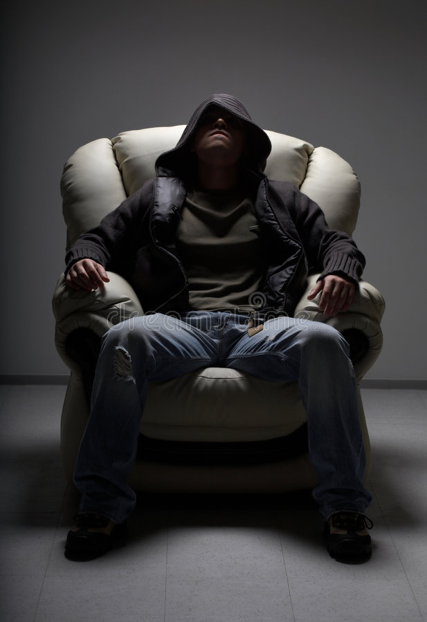 Download Dangerous Man Sitting In White Stock Image - Image: 2451203