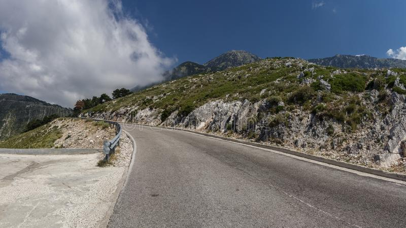 A dangerous mountain road in the Alban Mountains. The road of de royalty free stock photography