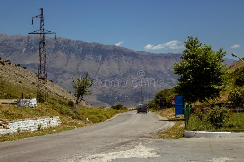 A dangerous mountain road in the Albania Mountains. The road of de royalty free stock photography
