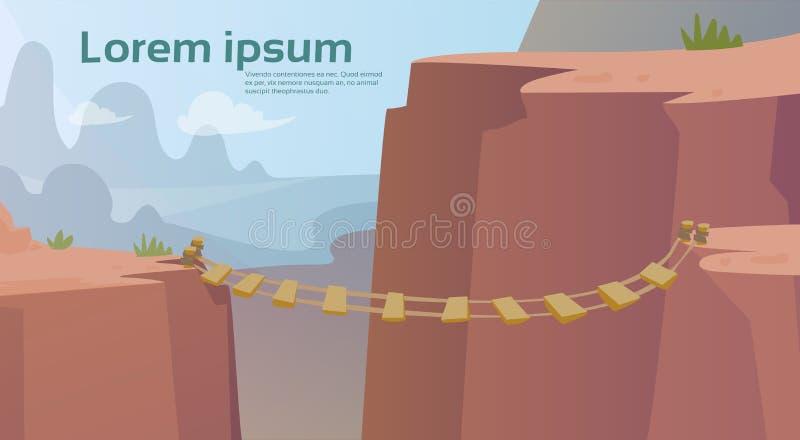 Dangerous Mountain Road Rope Bridge Risk vector illustration