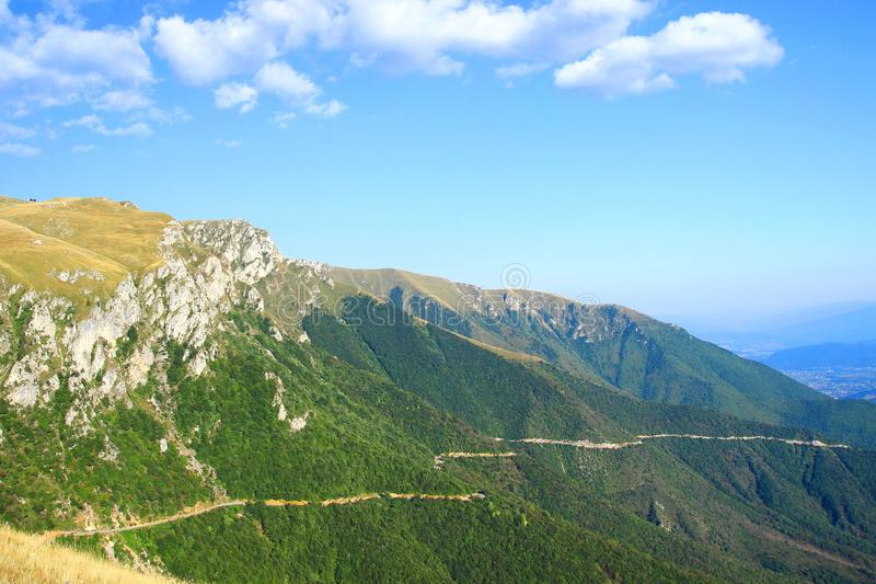 Mountain road from Travnik city to the Vlasic mountain, Bosnia and Herzegovina stock images