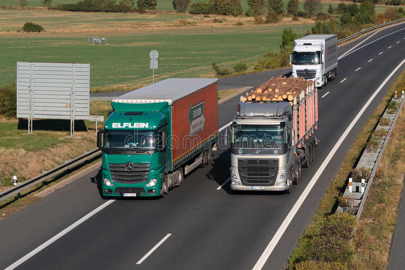 Dangerous overtaking of trucks. On D5 highway. Cause of frequent car accident. The D5 is important transport connection between West Bohemia and Germany royalty free stock photos